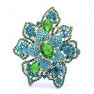 "Vintage Style Rhinestone Crystals Green Drop Flower Brooch Broach Pin 3.2"" 5854"