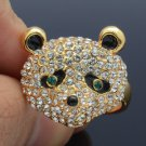 Exquisite Panda Cocktail Ring Adjustable W/ Clear Swarovski Crystals Animal