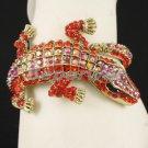 Gold Tone Swarovski Crystals Red A/B Animal Crocodile Bracelet Bangle