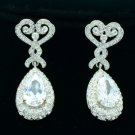 Wedding Zircon Dangle Flower Pierced Earring Clear Rhinestone Crystals 21251