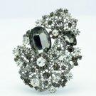 """Pretty 3.3"""" Leaf Flower Brooch Pin Black Rhinestone Crystals 2274"""