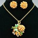 Rose Flower Dragonfly Necklace Earring Set Pendant Swarovski Crystal Enamel