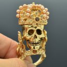 Brown Swarovski Crystals Gold Tone Skull Cocktail Ring 8# For Halloween SR1620-4