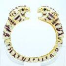 Purple Swarovski Crystals Enamel 2 Leopard Panther Bracelet Bangle Cuff
