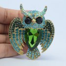 Green Rhinestone Crystals Bird Owl Brooch Broach Pin 5758