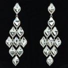 Fashion Dangle Clear Flower Pierced Earring Rhinestone Crystals 127333