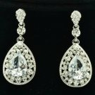 Wedding Rhinestone Crystal Dangle Flower Pierced Earring Drop Clear Zircon 20581