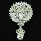 "Chic Clear Flower Brooch Broach Pendant Pin 2.9"" Rhinestone Crystals 6320"