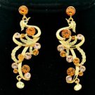 Gold Tone Topaz Peafowl Peacock Pierced Earring W Swarovski Crystals SEA0856-1
