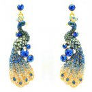 High Quality Swarovski Crystals Blue Peafowl Peacock Pierced Earring SEA0851-2
