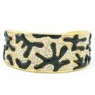 H-Quality Black Enamel Coral Bracelet Bangle Cuff W Swarovski Crystal SKA2033M-2
