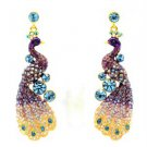 High Quality Swarovski Crystals Purple Peafowl Peacock Pierced Earring SEA0851