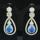 Vogue Blue Teardrop Zircon Pierced Flower Earring W/ Rhinestone Crystals 20321
