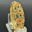 High Quality Flower Bracelet Bangle W/ Topaz Swarovski Crystals SKCA1405M-2
