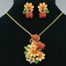 Hi-Q Red Ladybug Flower Necklace Earring Set Pendant Swarovski Crystals Enamel