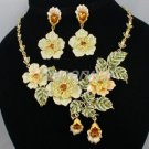 Swarovski Crystals High Quality Yellow Rose Flower Necklace Earring Set