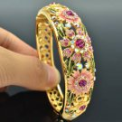 High Quality Flower Bracelet Bangle W/ Pink Swarovski Crystals SKCA1405M-1