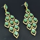 Fashion Dangle Green Flower Pierced Earring Rhinestone Crystals 127333