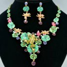 Gorgeous Swarovski Crystals Lotus Flower Green Frog Necklace Earring Set SN2917