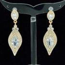 Wedding Gold Tone Rhinestone Crystals Clear Dangle Pierced Flower Earring 20464