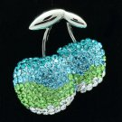 Cute Blue Cherry Brooch Broach Pin W/ Swarovski Crystals 531401
