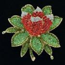Rhinestone Crystals Red Lotus Flower Brooch Broach Pin BT0182