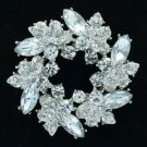 Clear Rhinestone Crystals Branch Round Leaf Flower Brooch Broach Pin 3314