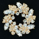 Gold Tone Rhinestone Crystals Branch Round Clear Leaf Flower Brooch Pin 3314