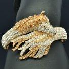 Exquisite Topaz Rhinestone Crystals Tail Horse Bracelet Bangle Cuff 20810