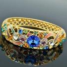 18K Gold GP Swarovski Crystals Flower Bracelet Bangle W Multicolor Enamel 1609A