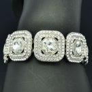 Elastic Glitzy Bridal Square Bracelet Chain w/ Clear Rhinestone Crystal