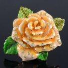 H-Quality Yellow Flower Ring Size 7# W/ Swarovski Crystals SR1942-2
