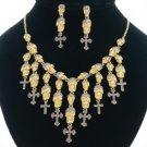 Swarovski Crystal Purple Cross Skeleton Skull Necklace Earring Set For Halloween