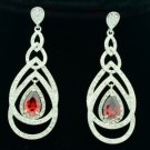 Dangle Pierced Red Zircon Teardrop Earring W/ Rhinestone Crystals 21507