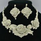 Popular Wedding Clear Rose Flower Necklace Earring Set W/ Rhinestone Crystals