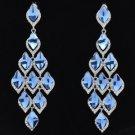 Fashion Dangle Blue Flower Pierced Earring Rhinestone Crystals 127333