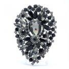 "Chic drop Black Flower Brooch Pin Rhinestone Crystals 3.9"" 5952"