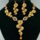 H-Quality Drop Brown 3 Snake Necklace Earring Set Swarovski Crystals SNA3161