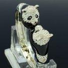 Rare Enamel 2 Head Panda Bracelet Bangle Cuff W/ Clear Swarovski Crystals