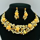 Vogue Yellow Acrylic Rose Flower Necklace Earring Set W Rhinestone Crystal 02677