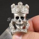 White Faux Pearl Skeleton Skull Ring 7# W/ Clear Swarovski Crystals SR1766-2C