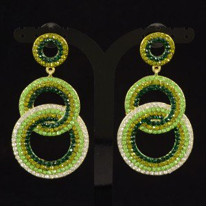 Stylish Dangle Pierced Circle Earring W/ Green Rhinestone Crystals 203348