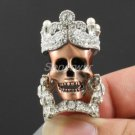 Goth Style High Quality Clear Swarovski Crystal Skeleton Skull Ring 7# SR1766-1C