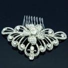 Wedding Bridal Flower Hair Comb Pieces W/ Cear Rhinestone Crystals 729RJK