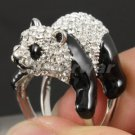 H-Quality Cute Panda Cocktail Ring Size 9# W/ Clear Swarovski Crystals SR1847-2