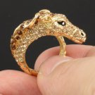 Swarovski Crystals High Quality Animal Brown Horse Cocktail Ring 8# SR1610