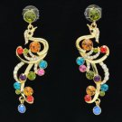 Gold Tone Multicolor Peafowl Peacock Pierced Earring W Swarovski Crystals SE0856
