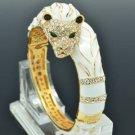 Swarovski Crystals White Enamel Animal Lion Bracelet Bangle Cuff SKCA2074L-1
