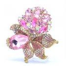"Retro Flower Pendant Brooch Broach Pin 3.1"" W/  Pink Rhinestone Crystals 5851"