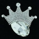 """Rhinestone Crystals Cute Clear Crown Broach Brooch Pin 1.9"""" 6318"""